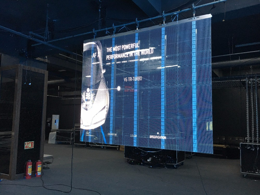 P3.91 transparent video wall
